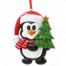 penguin with xmas tree personalized christmas tree ornament buy