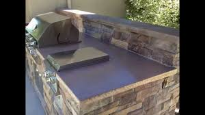 outdoor kitchen island with concrete countertop outdoor backyard