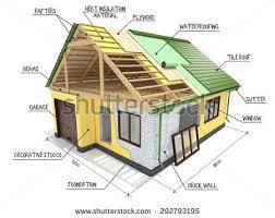 house under construction on top blueprints stock illustration
