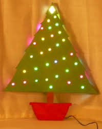 build a wooden tree with led ornaments