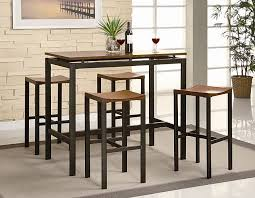 atlus counter height contemporary black metal table with warm oak