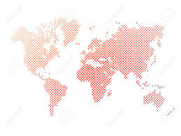 World Map Silhouette World Map Of Red Dots On White Background In Corss Arrangement
