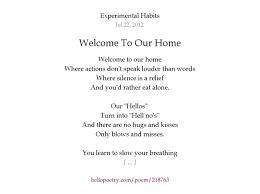 welcome to our home by experimental habits hello poetry