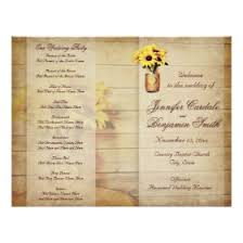 sunflower wedding programs country wedding programs rustic country wedding invitations