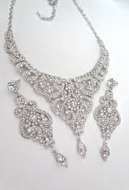bib necklace crystal images Brides jewelry set crystal bib necklace and earrings set jpg