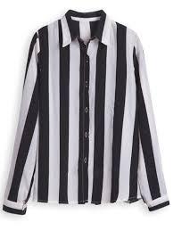 black and white striped blouse black white vertical stripe sleeve chiffon blouse shein