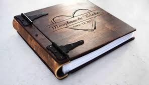 leather photo album personalized large personalized rustic wood photo album w leather spine