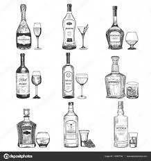 drink vector creative sketch of alcohol drinks vector illustration with