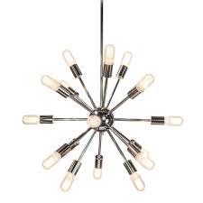 decor living sputnik 18 light polished nickel chandelier 751c 32