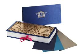 indian wedding card box weddding designer laser cut blue and golden card box indian