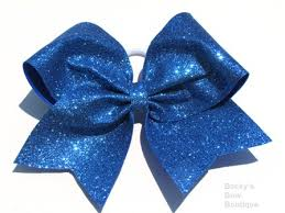 blue bows sparkle blue glitter cheer bow