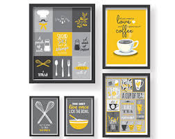 gray and yellow kitchen ideas kitchen poster etsy