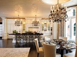 round gray trestle dining table with mismatched dining chairs gold chandelier transitional photo part 6