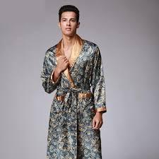 robe de chambre homme satin mens d été paisley imprimer robes de soie senior masculine satin