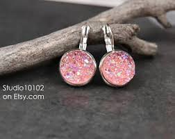 pink drop earrings pink drop earrings etsy