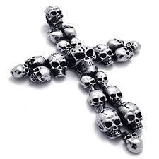 cross skull necklace images 24 quot konov large stainless steel skull cross pendant biker mens jpg
