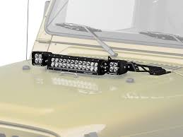 jeep jk hood led light bar rugged ridge wrangler 13 5 in led light bar 3 in square led