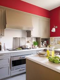 modern beige kitchen design with red walls digsdigs buried