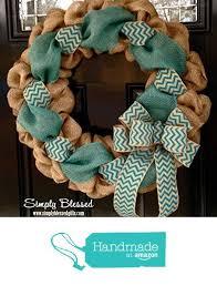 teal chevron burlap wreath 22 inch front door or accent outdoor