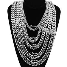 colored chain link necklace images Innovative jewelry silver color miami cuban link chain 12 14 16 jpg