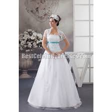 white strapless a line wedding dress blue sequined laceup back