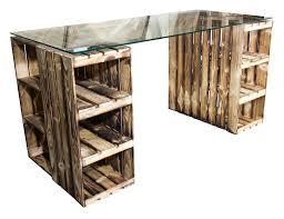 Schreibtisch Glasplatte Möbel Schreibtisch Mit Geflammten Holzkisten U0026 Glasplatte