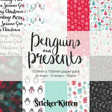 penguins and presents christmas craft paper pack 30 sheets 10