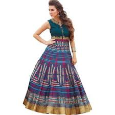 gown dress with price royal fashion blue and multicolour digital printed bhagalpuri silk