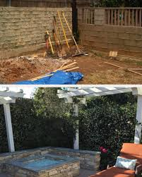 before and after seaglassfirepit jasmine trellis stackedstone