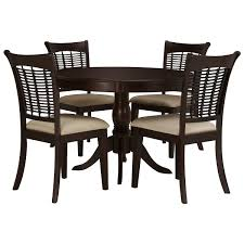 City Furniture Dining Room Dark Tone Round Table U0026 4 Chairs