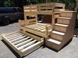 Free Plans Build Twin Over Full Bunk Bed by Twin Over Full Bunk Bed With Trundle And 5 Drawer Stair Dresser