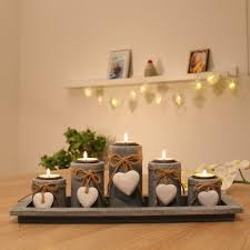 Wohnzimmer Deko Mit Holz Amazon De Teelichthalter Set Auf Holztablett Tischdekoration