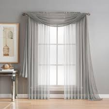 Gray Valance Window Elements Diamond Sheer Voile 56 In W X 216 In L Curtain