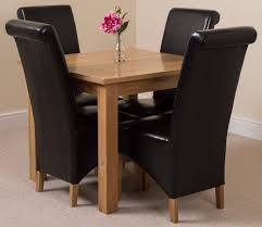oslo solid oak dining table and 4 black leather chairs ebay solid