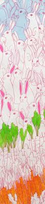 rabbit material large bunny rabbit fabric light blue and pink henry