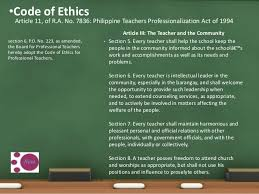 Counseling Code Of Ethics Philippines N C B T S National Competency Based S Standard 2013