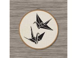 2 paper cranes pdf cross stitch pattern