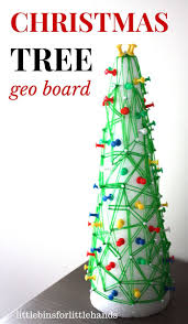 christmas tree geo board fine motor math stem activity