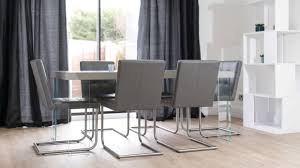 Modern Leather Dining Chairs Dining Room Modern Grey Leather Dining Chair Matched With Elegant