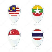 Singapore Flag Button Malaysia Myanmar Singapore Thailand Flag Location Map Pin Ico