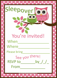 sleepover invitations for girls cute pink owls sleepover