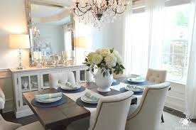 Light Blue Dining Room White Hydrangeas And Eucalyptus In Light Blue Formal Dining Room