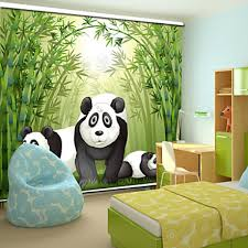 Bamboo Roller Shades Lovely Cartoon Style Panda Family With Bamboo Roller Shade