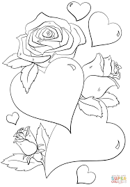 coloring pages roses and hearts flower hearts kids print and color