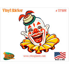 creepy circus clown face funny hat vinyl sticker vintage style