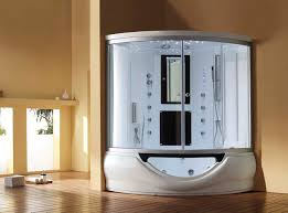 shower satisfying one piece fiberglass corner shower stalls