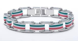 rubber stainless steel bracelet images Men 39 s stainless steel and rubber italian flag bracelet browne 39 s jpg