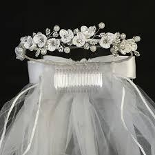 communion headpiece satin flowers rhinestones pearls w white veil holy