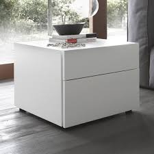 White And Walnut Bedroom Furniture White Solid Wood Bed Side Table On Gray Walnut Hardwood Floor
