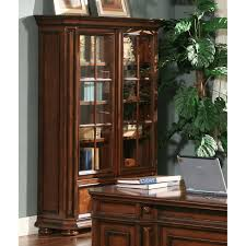 home decoration dark brown wood bookshelves with sliding glass